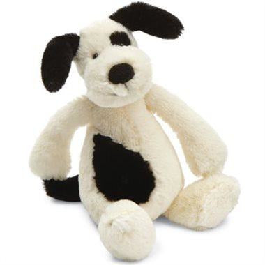 JellyCat Bashful Black & Cream Puppy (Medium) - Baby Laurel & Co.