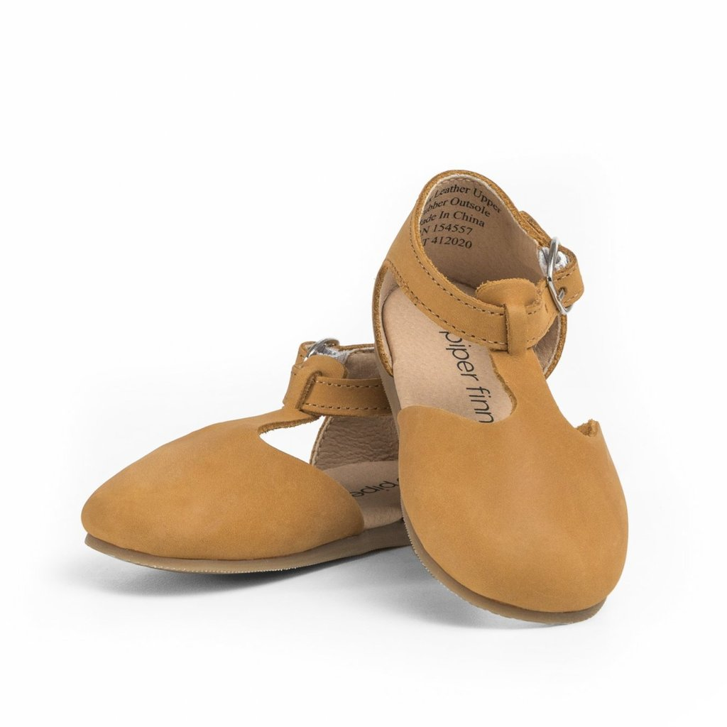 Piper Finn Natural Mary Jane Shoes - Hard Soles
