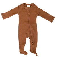 Mebie Baby Organic Cotton Ribbed Footed Zipper One-Piece