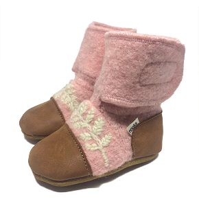 Nooks Design Fern Embroidered Felt Booties - Finch - Baby Laurel & Co.