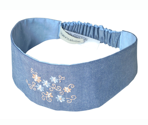 Bandeau DELIA brodé Chambray|Embroidered Chambray Headband