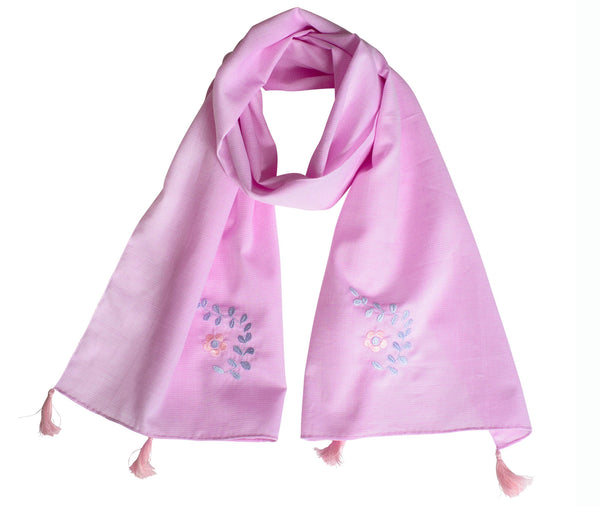 Foulard brodé GRACE Rose|Embroidered Pink Scarf