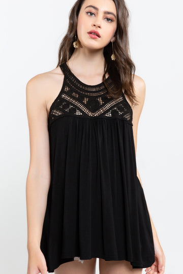 Black Forever Hopeful Babydoll Tank Top