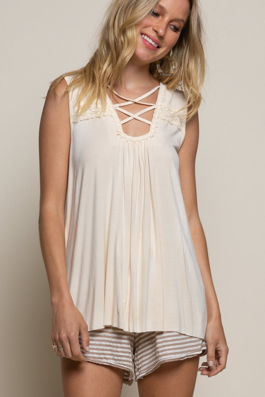 Banana Cream Floral Embroidered Criss Cross Sleeveless Top