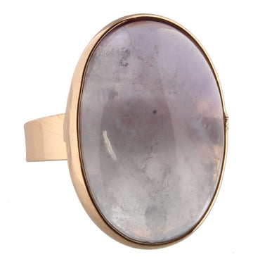 Gold & Purple Oval Stone Adjustable Ring
