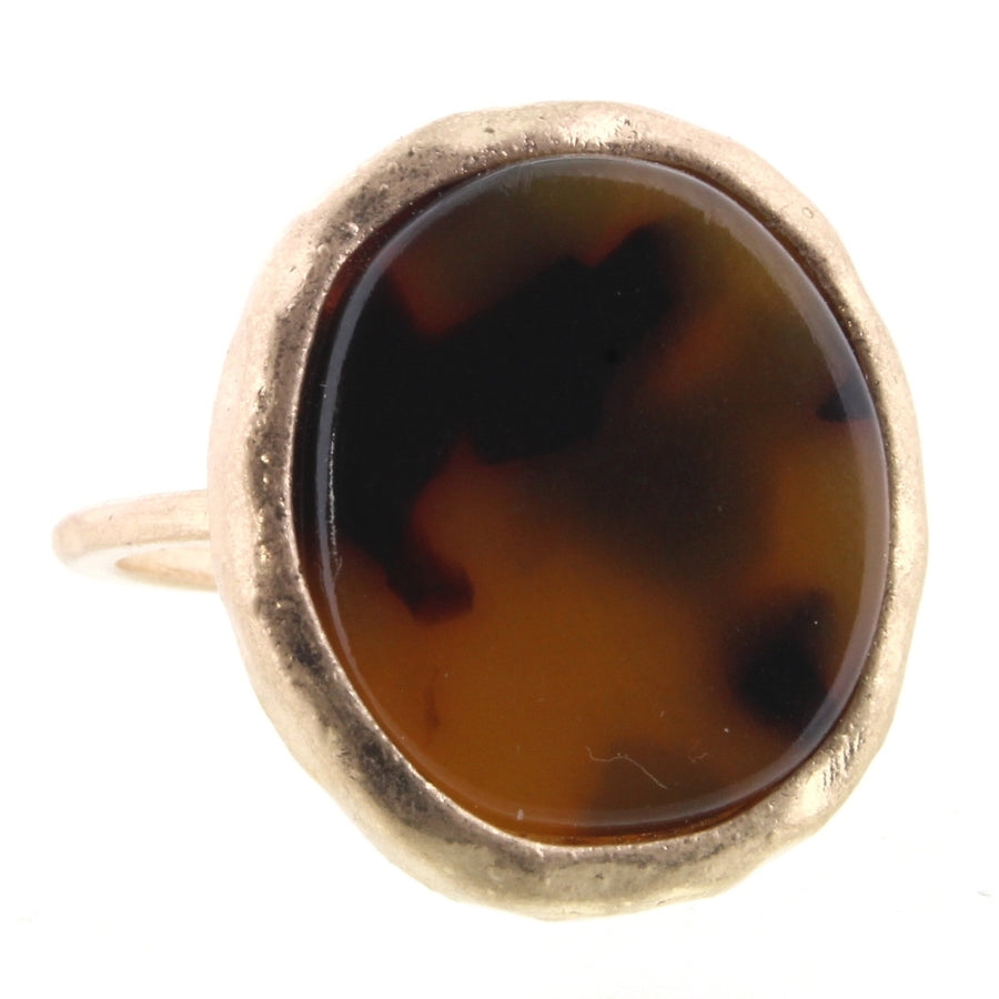Tortoise Resin Round Ring