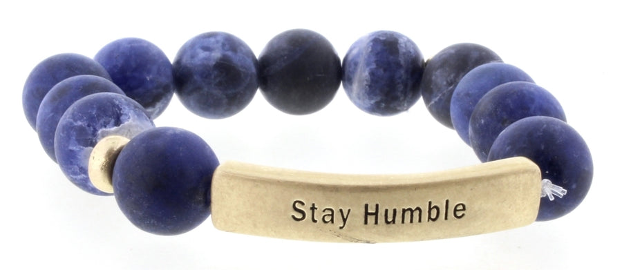 Sodalite Stay Humble Beaded Stretch Bracelet
