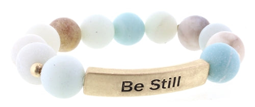Amazonite Be Still Beaded Stretch Bracelet
