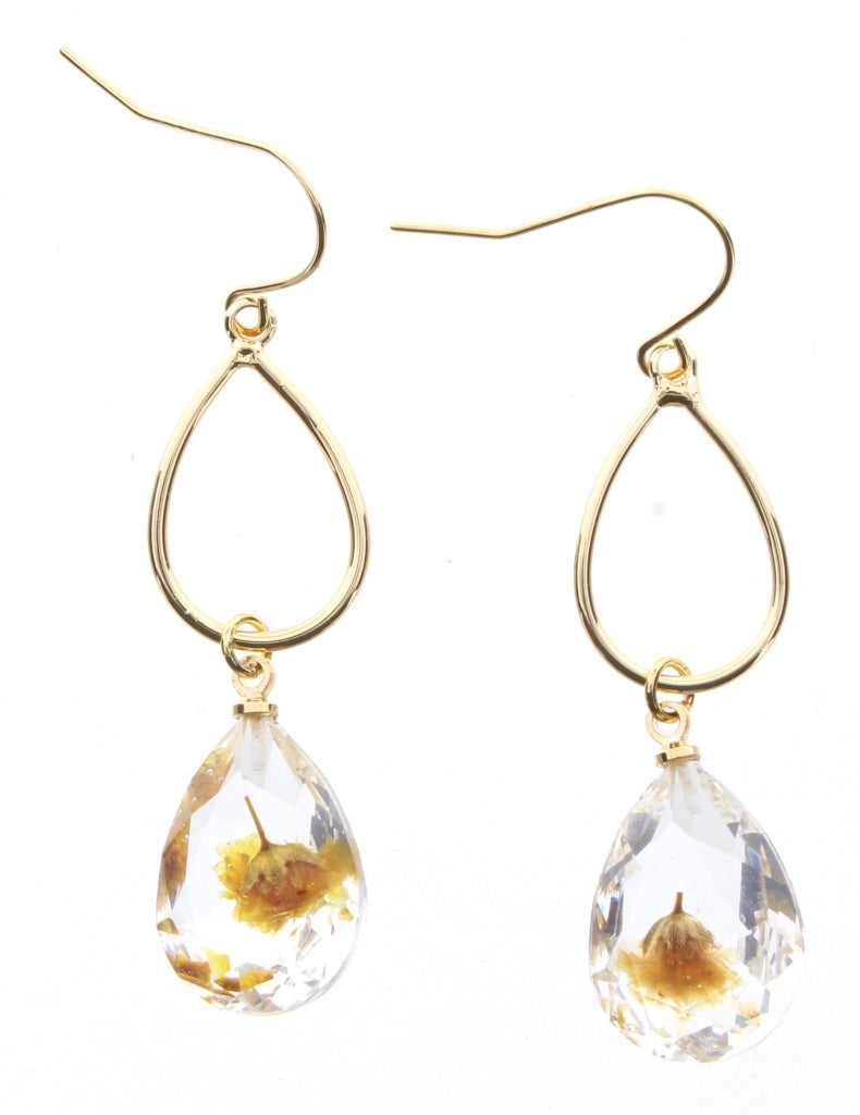 Gold Teardrop with Yellow Flower Crystal Earrings