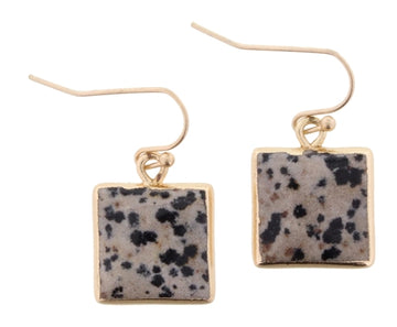 Dalmatian Stone Square Dangle Earrings