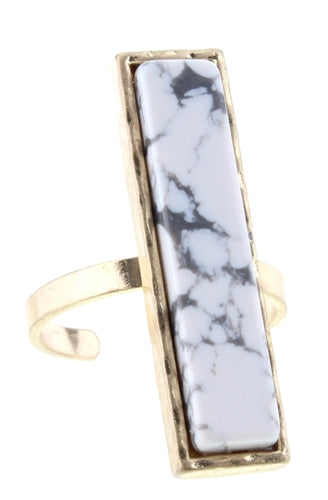 Howlite Stone Rectangle Adjustable Ring