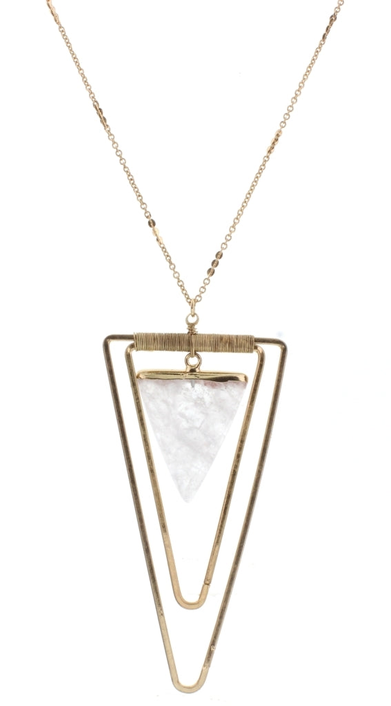Gold Double Triangle with Clear Stone Long 32