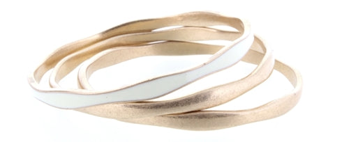 Ivory Epoxy and Gold Bangle Bracelet Set of 3