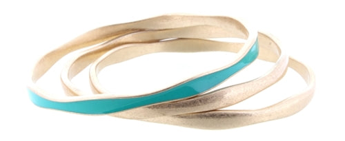 Turquoise Epoxy and Gold Bangle Bracelet Set of 3