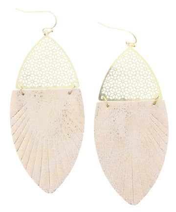 Rose Gold Leather Ellipse Earrings