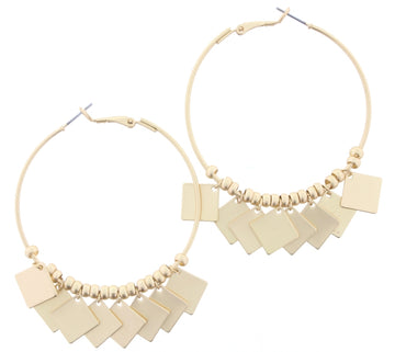 Gold Hoop with Beads and Dangle Squares Earrings