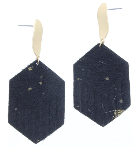 Jet and Gold Post with Gold Fleck Cowhide Fringe Hexagon Earrings