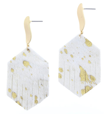Gold Fleck Cowhide Fringe Hexagon with Wavy Stud Dangle Earrings