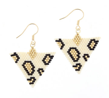 Ivory Seed Bead Triangle Leopard Dangle Earrings