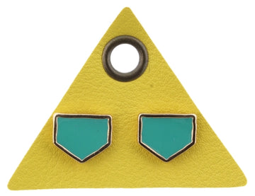 Teal Pentagon Stud Earrings