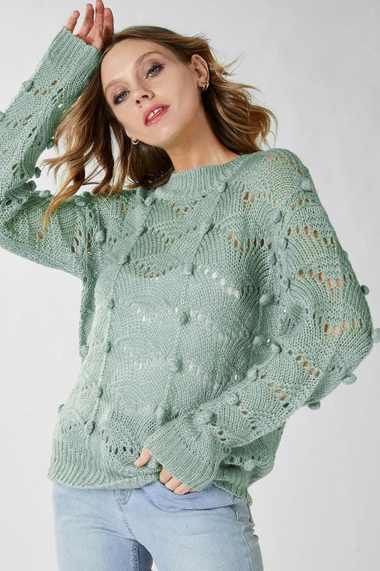 Dust Mint Chevron Perforated Sweater with Pom Pom
