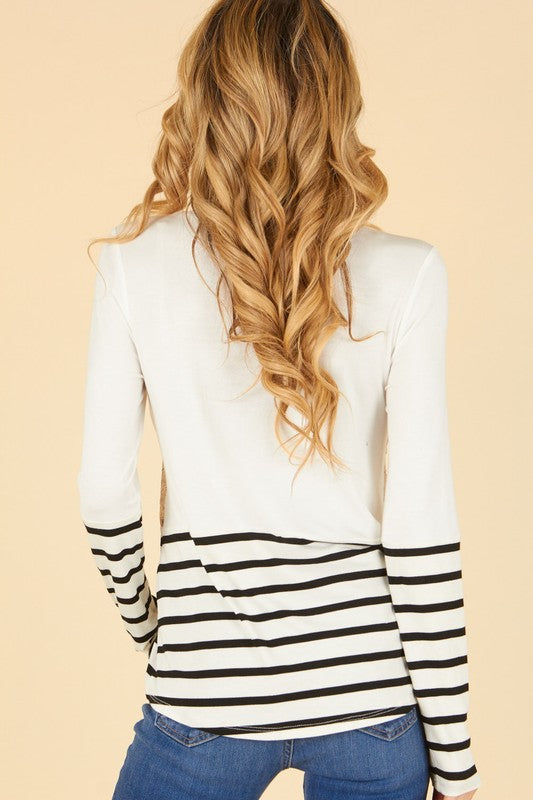 Ivory & Stripe Sequin Block Long Sleeve Top