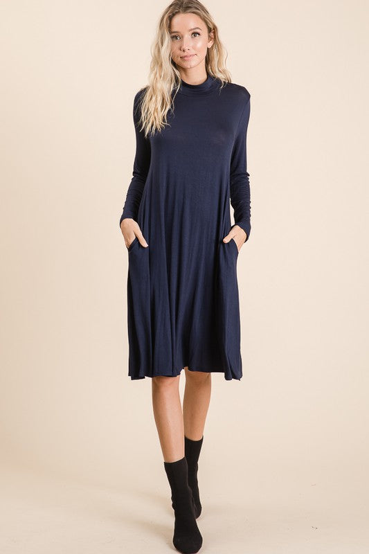 Black Solid High Neck Long Sleeve Dress with Pockets