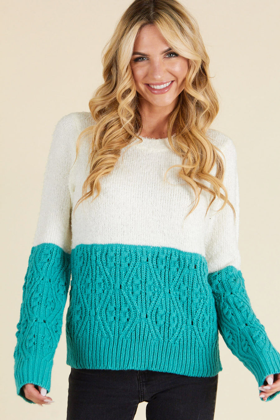 Teal Color Block Sweater