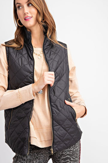 Black Quilted Soft Puffer Vest