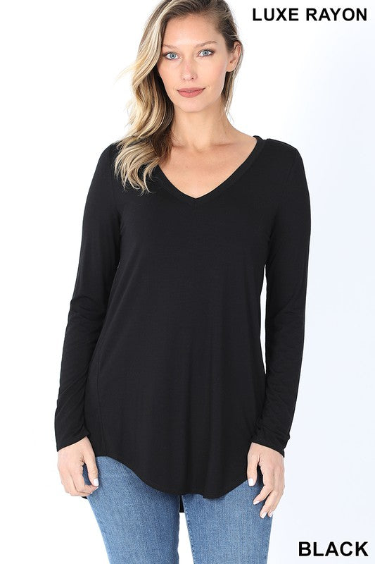 Black Luxe Rayon Long Sleeve V-Neck Top