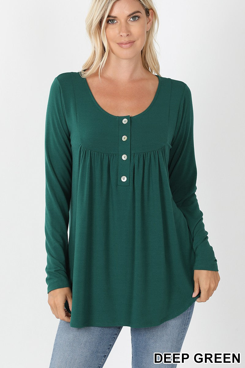 Deep Green Henley Long Sleeve Tee