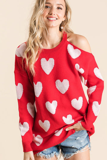 Red & White All Over Heart Print Cold Shoulder Sweater