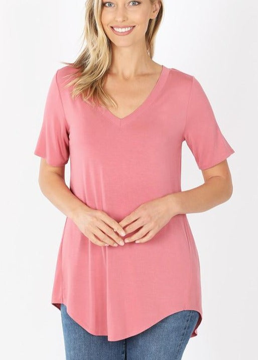 Dusty Rose Luxe Rayon Hi-Lo Hem Short Sleeve Top