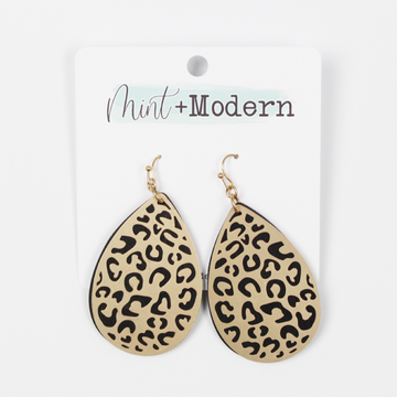 Gold Leopard and Black Wood Teardrop Earrings