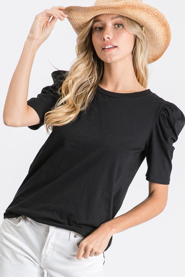 Vintage Black Solid Puff Sleeve Top