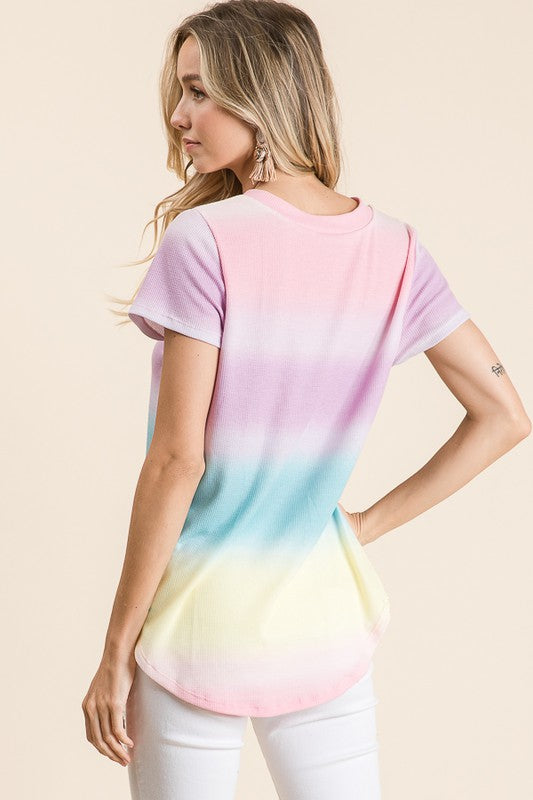 Bright Multi-Color Soft Thermal Short Sleeve Top