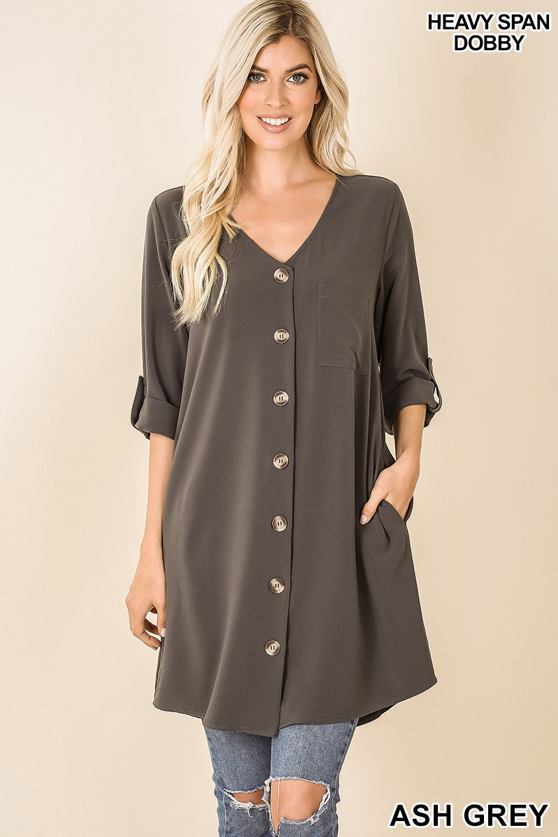 Ash Grey Heavy Woven Dobby 2 in 1 Cardigan Tunic Dress