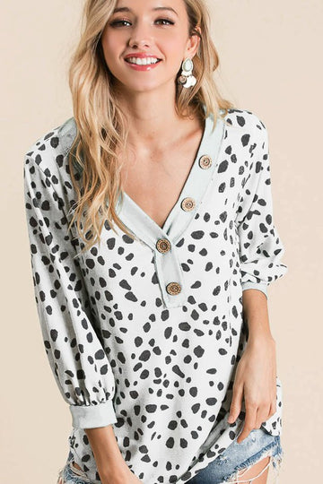 Ivory Dalmatian Print Terry Top with Puff Sleeves
