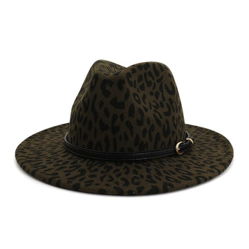 Green Animal Print Fedora