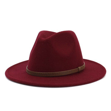 Wine Trendy Panama Hat with Brown Leather Strap