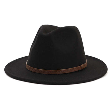 Black Trendy Panama Hat with Brown Leather Strap