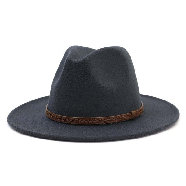 Dark Gray Trendy Panama Hat with Brown Leather Strap