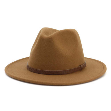 Khaki Trendy Panama Hat with Brown Leather Strap