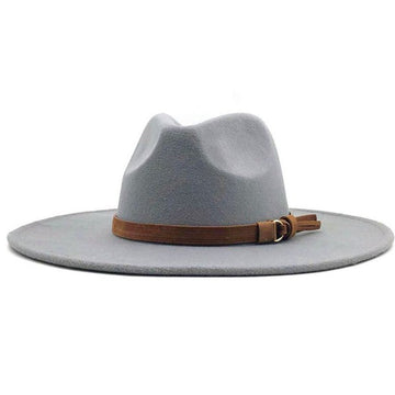 Light Gray Wide Brim Dandy Panama Hat with Brown Tassel