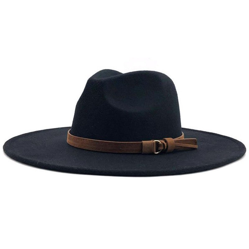 Black Wide Brim Dandy Panama Hat with Brown Tassel