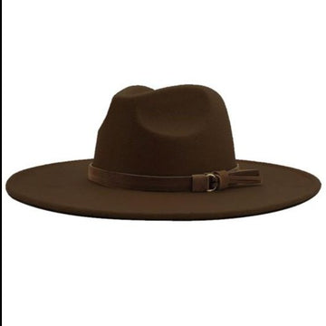 Coffee Wide Brim Dandy Panama Hat with Brown Tassel