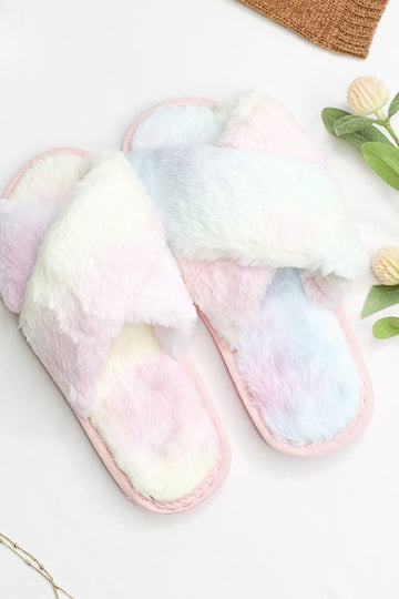 Pastel Tie Dye Crossed Top Faux Fur Slippers