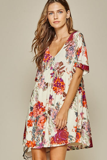 Ivory Multi Color Easiest Pullover Floral Dress