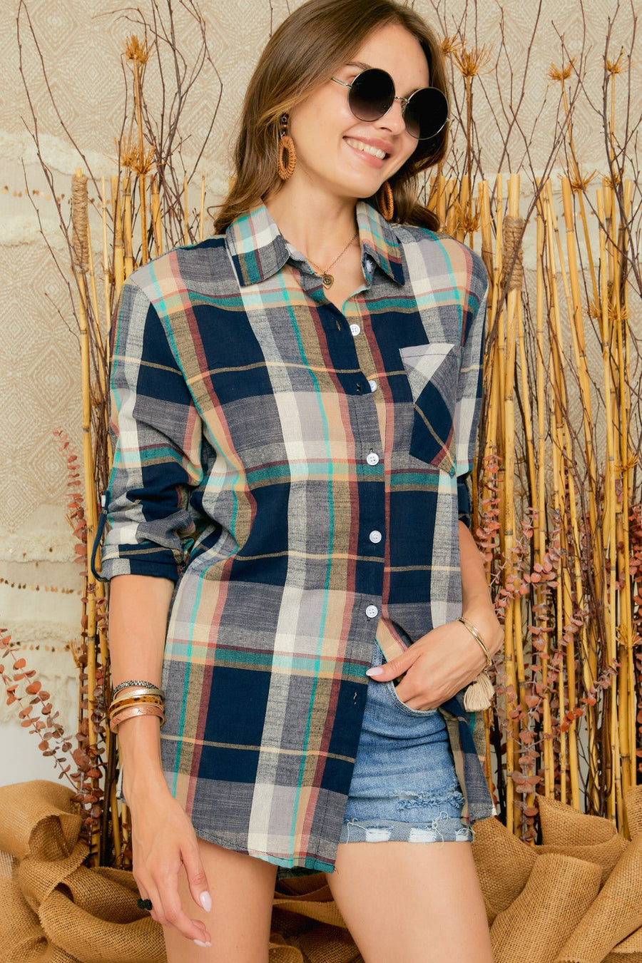 Navy Check Long Sleeve Flannel Top