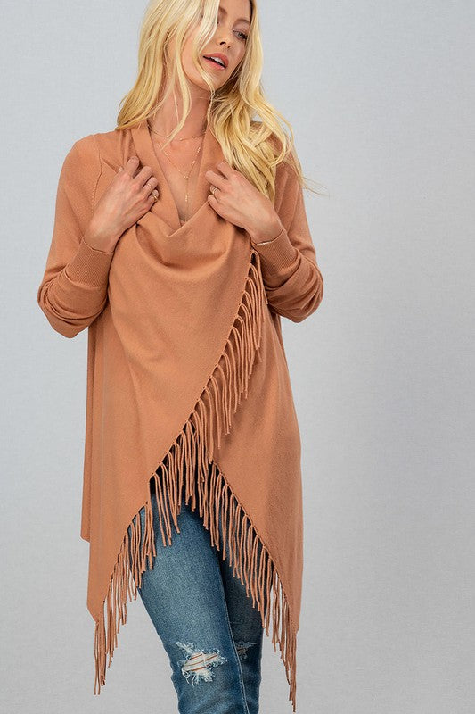Clay Long Sleeve Cardigan with Fringe